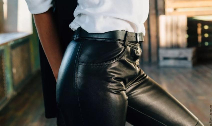 Кожаные женские брюки и штаны